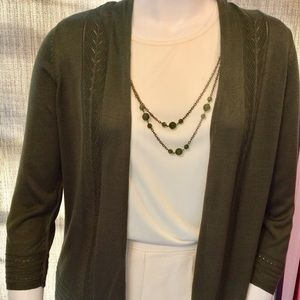 Alfred Dunner Tank and cardigan in olive